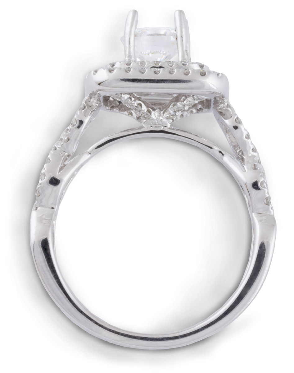 Double Square Halo Engagement Ring with Criss-Cross Shank - Top