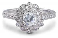 Double Halo Milgrain Engagement Ring with Diamonds