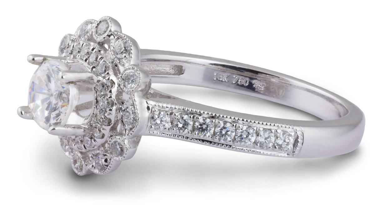 Double Halo Milgrain Engagement Ring with Diamonds - Side