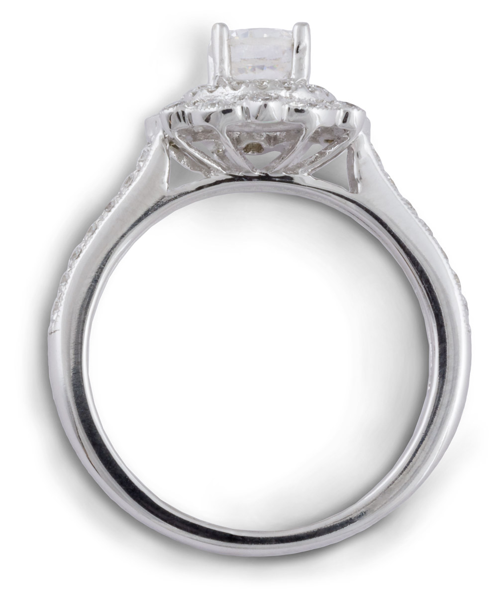 Double Halo Milgrain Engagement Ring with Diamonds - Top