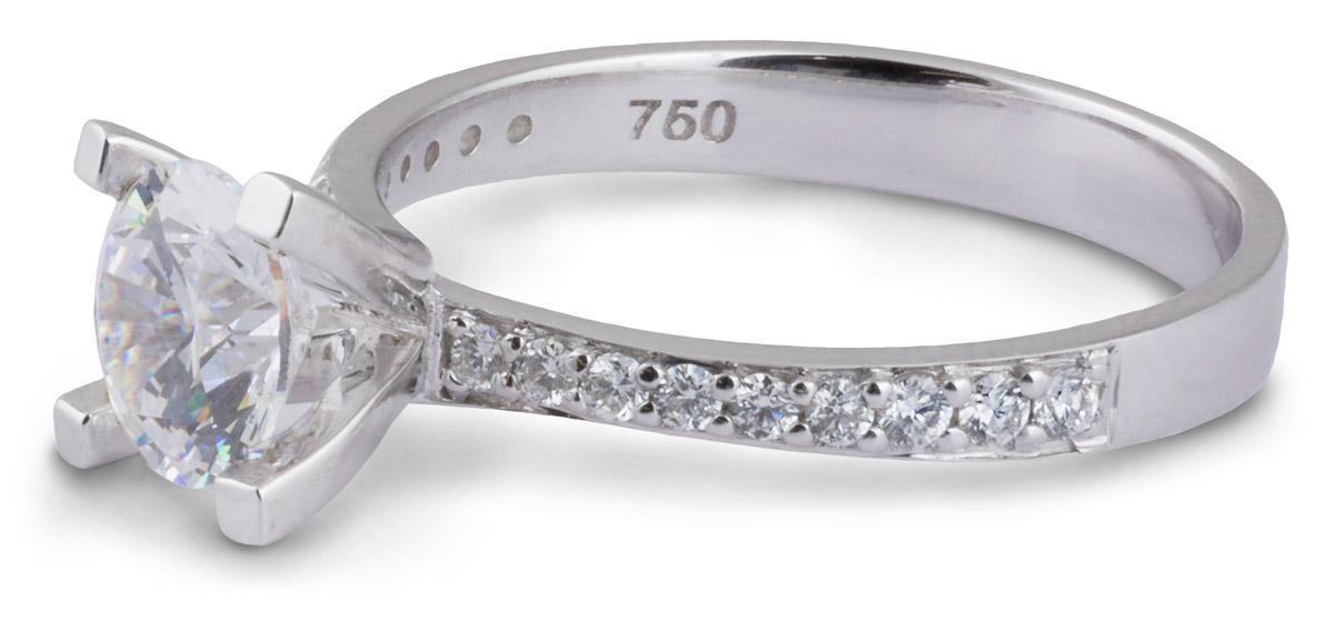 Tapered Shank Engagement Ring with Diamond Accents - Side