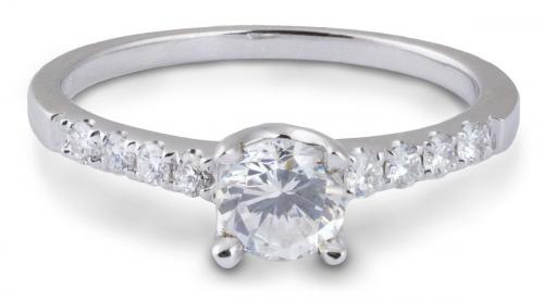 Delicate Simple Shank Engagement Ring with Diamonds