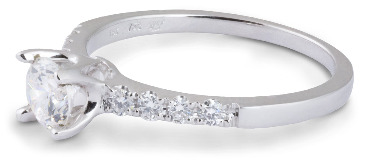 Delicate Simple Shank Engagement Ring With Diamonds Side