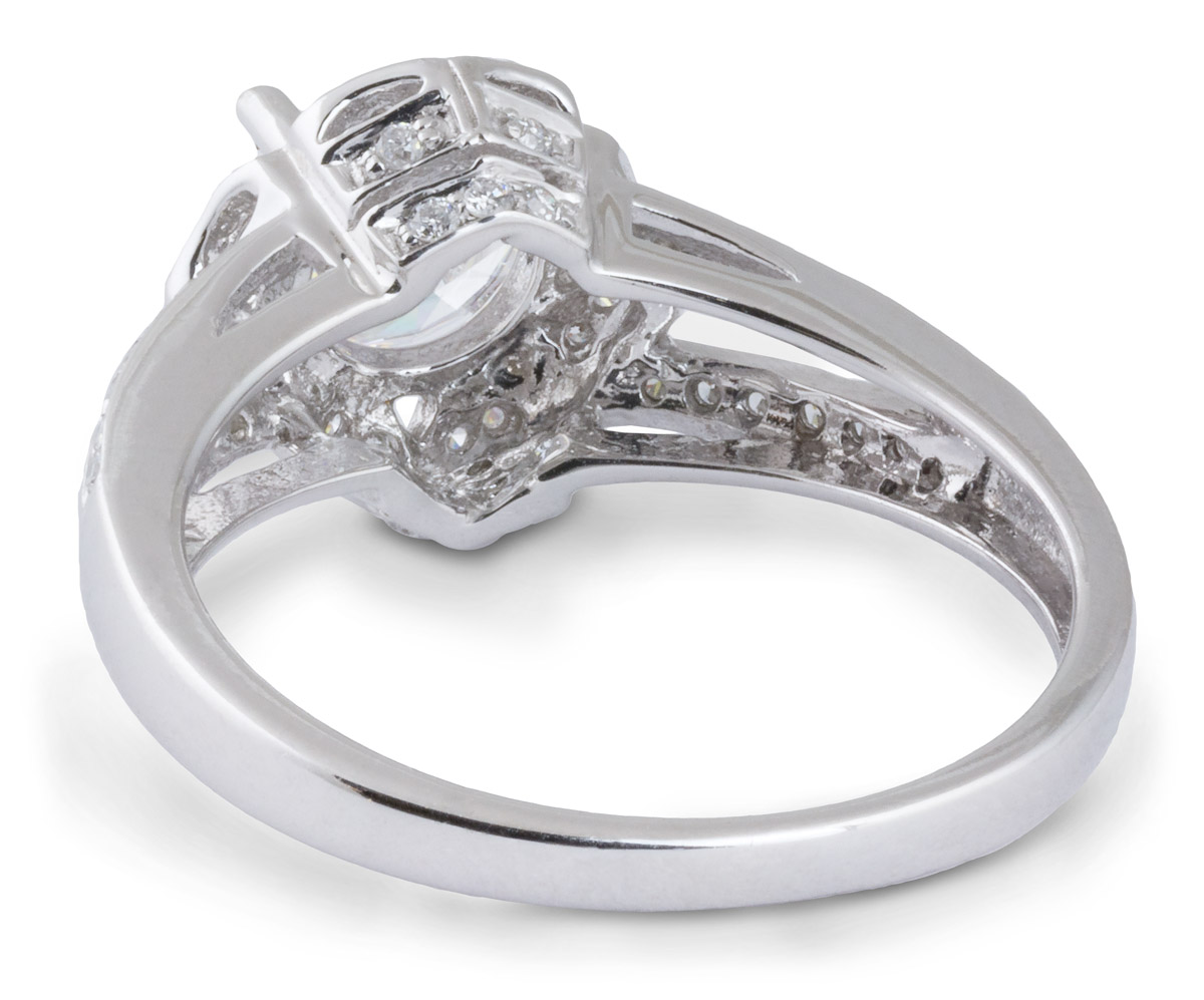 Floral Halo Split Shank Engagement Ring - Back