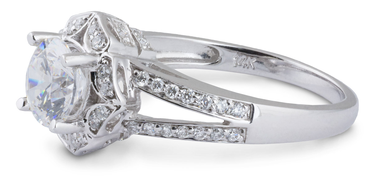 Floral Halo Split Shank Engagement Ring - Side