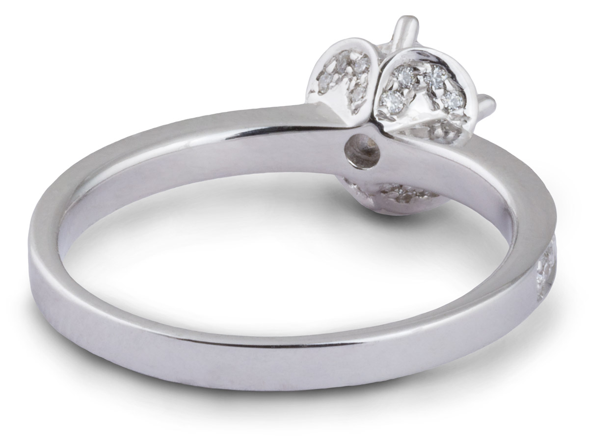 Arched Halo Engagement Ring with Diamond Accents - Back