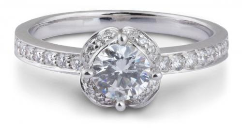 Arched Halo Floral Engagement Ring with Diamond Accents