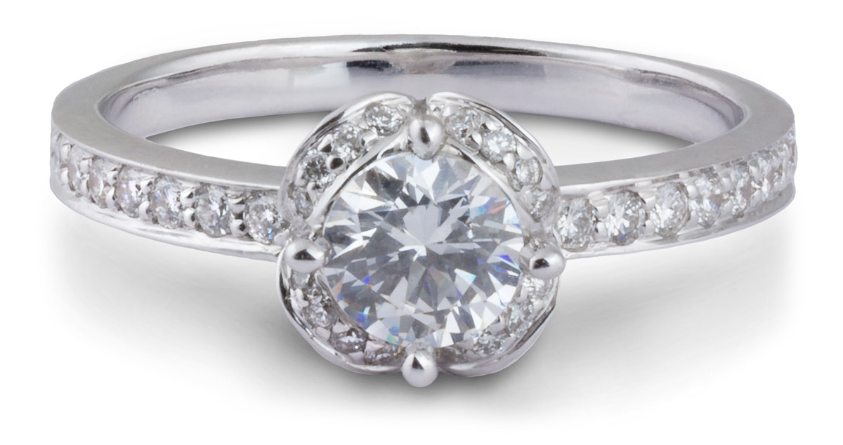 Arched Halo Engagement Ring with Diamond Accents