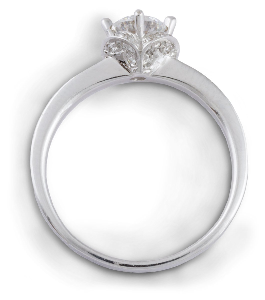 Arched Halo Engagement Ring with Diamond Accents - Top