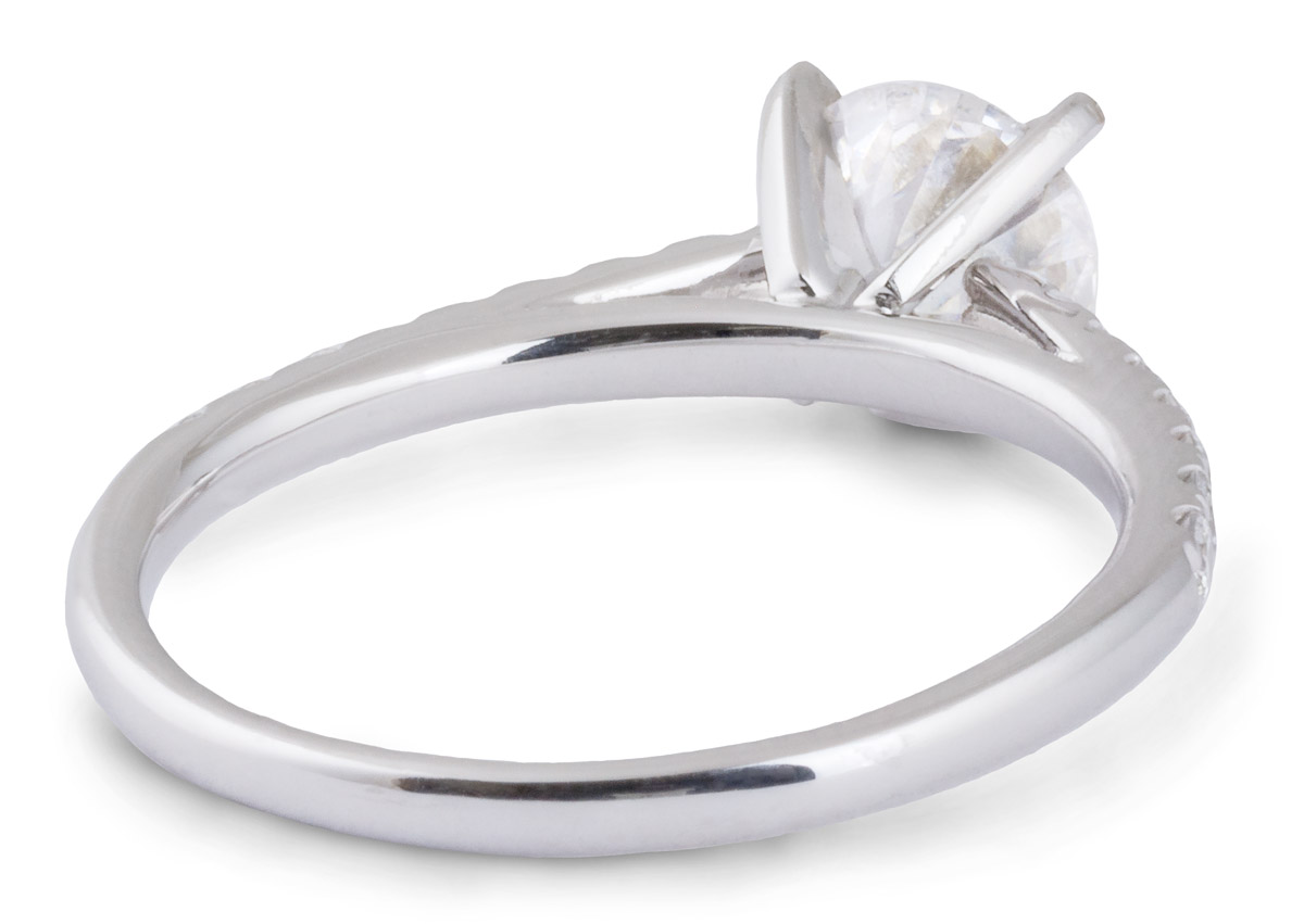 Delicate Cathedral Engagement Ring with Diamonds - Back