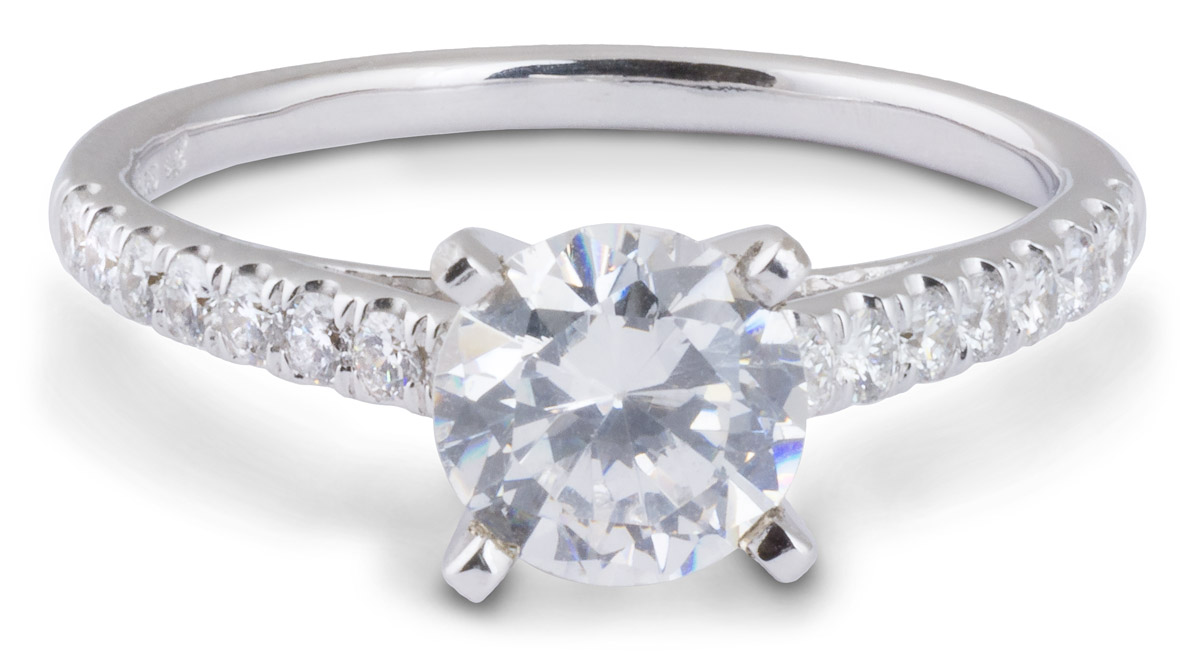 Delicate Cathedral Engagement Ring with Diamonds