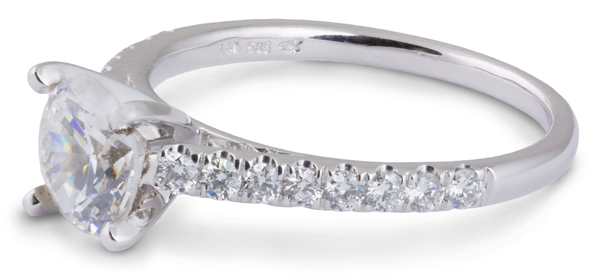 Delicate Cathedral Engagement Ring with Diamonds - Side