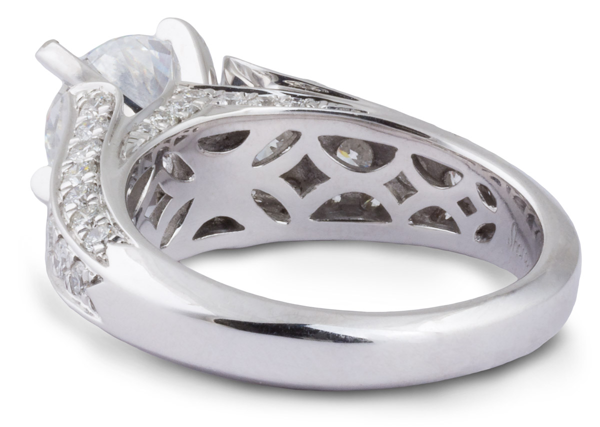 Diamond Cathedral Engagement Ring With Beveled Shank - Back