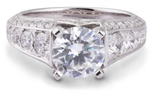 Diamond Cathedral Engagement Ring With Beveled Shank
