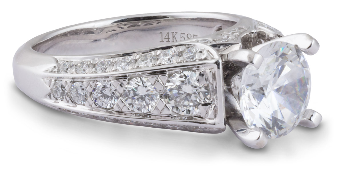 Diamond Cathedral Engagement Ring With Beveled Shank - Side