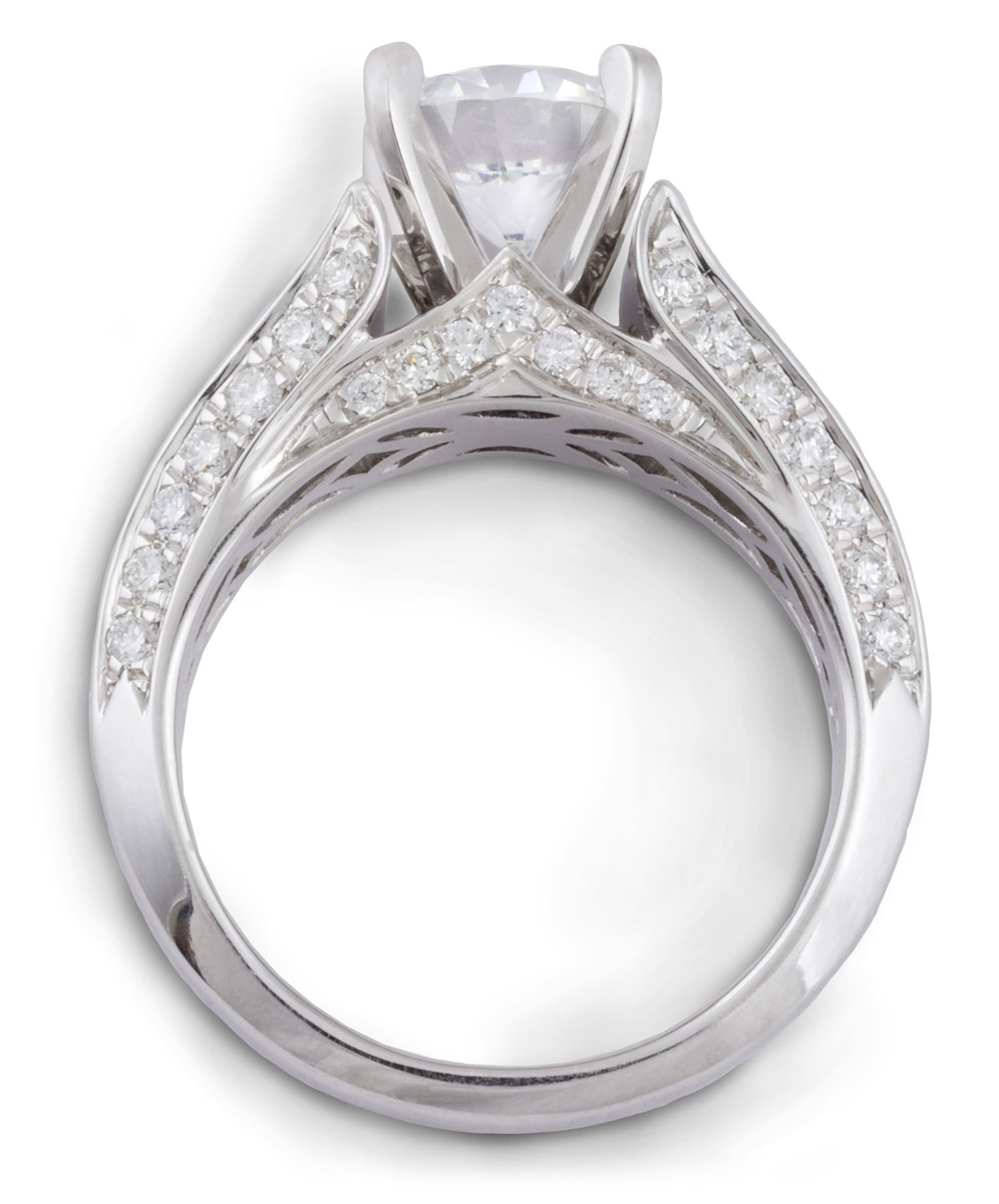 setting a with row rockher prong cathedral gold double two white rings cushion cut engagement in ring diamond