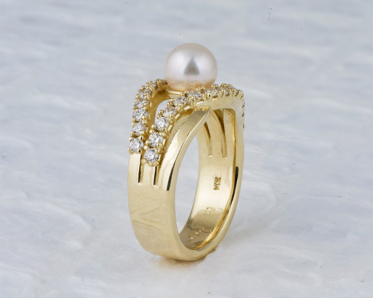 Yellow gold custom pearl engagement ring - side