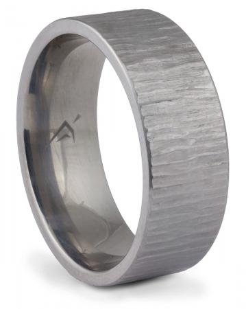 Titanium Tree Bark Textured Band