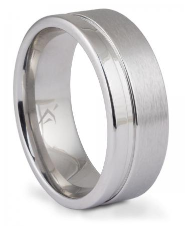 Grooved Half-Brushed Cobalt Band