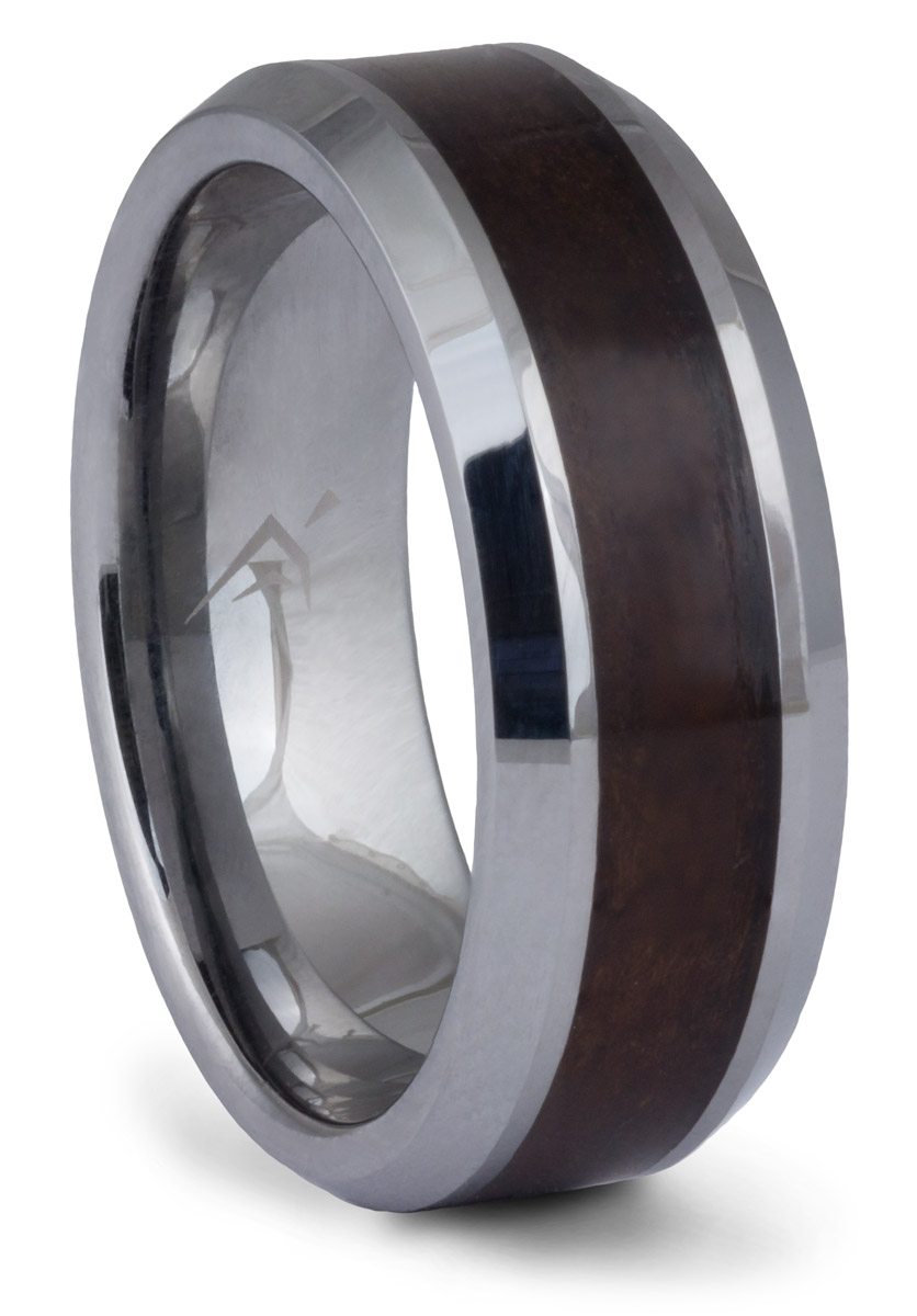 Tungsten Burl Wood Inlay Band