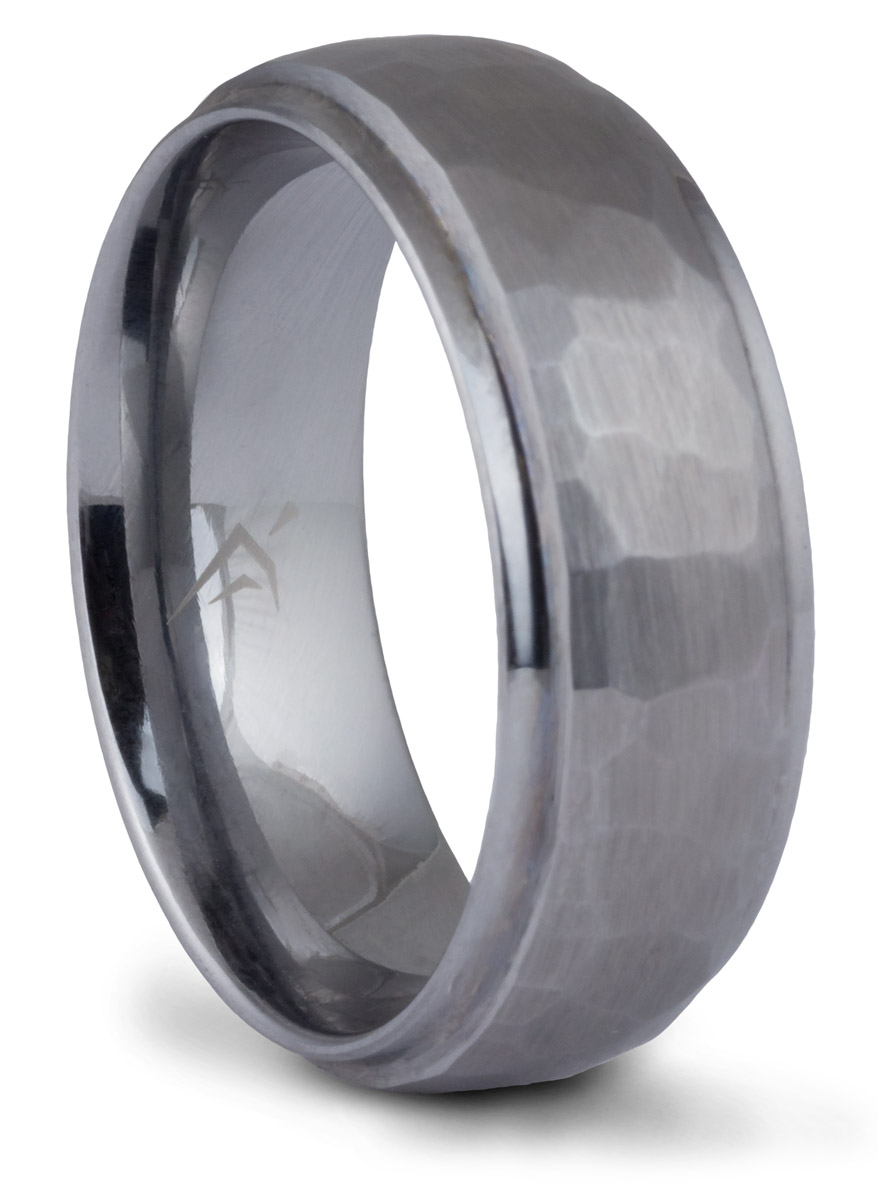 Tungsten Hammered Flat-Edge Band