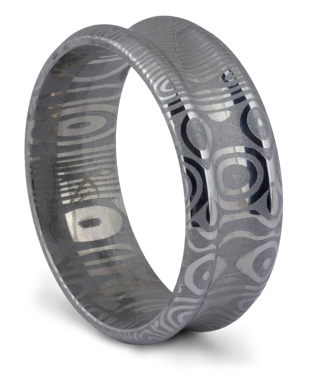 Damascus Steel Grooved Band