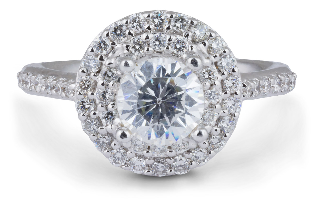 Double Halo Engagement Ring with Diamonds
