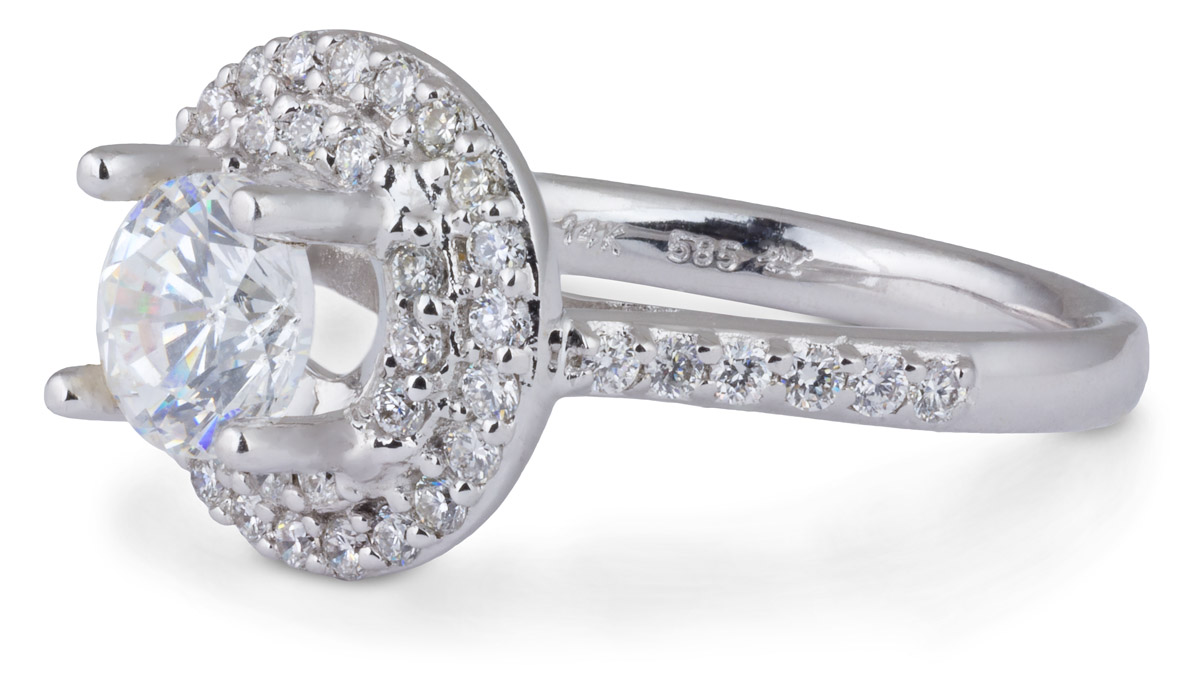 Double Halo Engagement Ring with Diamonds - Side