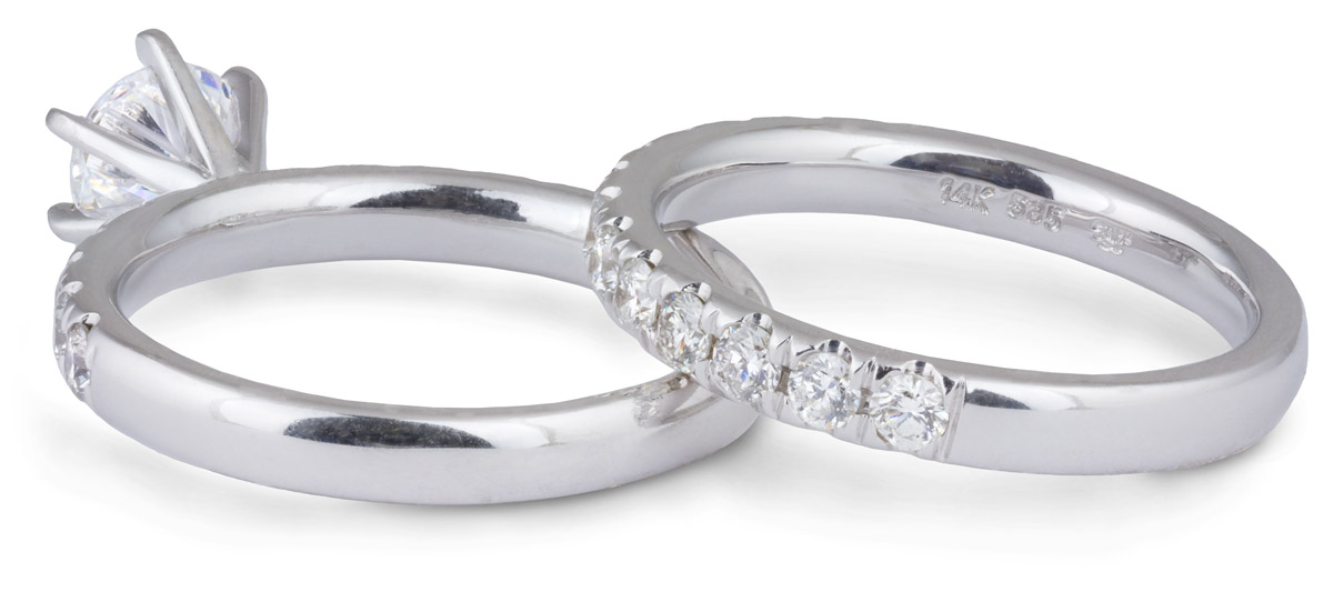 Wedding Set : Tall Setting Engagement Ring with Diamond Band - Back