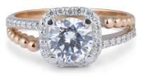 Two Tone Cushion Halo Engagement Ring with Split Shank