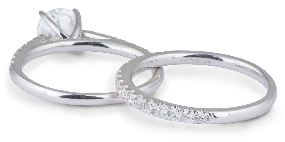 Wedding Set : Delicate Cathedral Engagement Ring with Diamond Band - Back