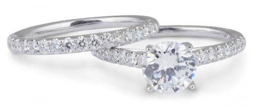 Wedding Set : Delicate Cathedral Engagement Ring with Diamond Band