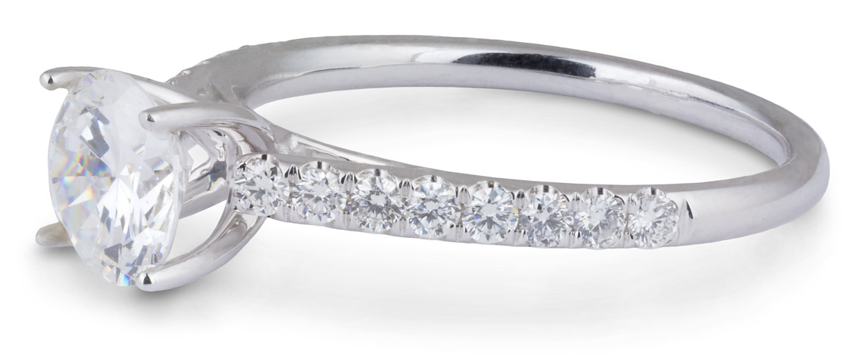 Wedding Set : Delicate Cathedral Engagement Ring with Diamond Band - Side