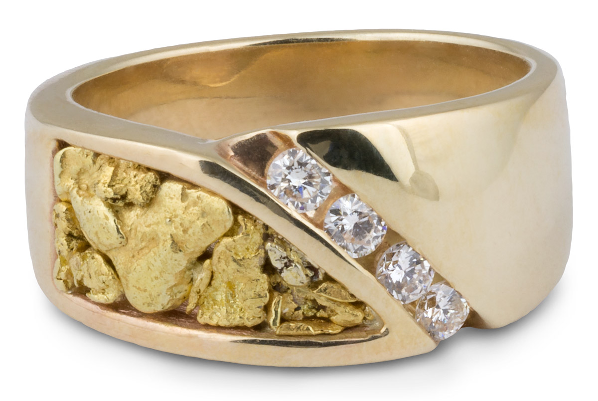 fb7a97a24d46a Asymmetrical Natural Nugget Men's Band with Diamonds