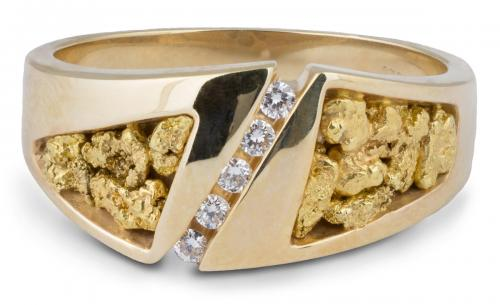 Natural Nugget Men's Band with Diamonds