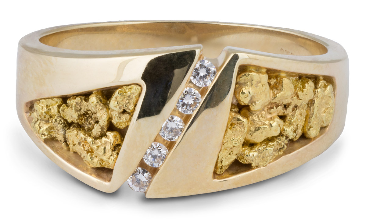 4e2aa129b6ac2 Natural Nugget Men's Band with Diamonds