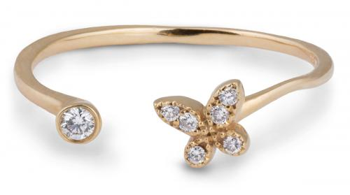 Open Shank Butterfly Ring with Diamonds