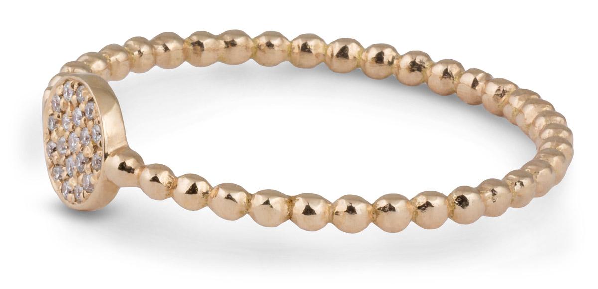 Beaded Shank Pave Diamond Ring