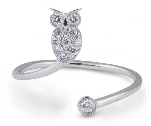 Open Shank Owl Ring with Diamonds