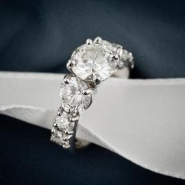 Diamond three stone statement engagement ring