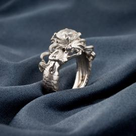 Mermaid custom diamond engagement ring - perspective