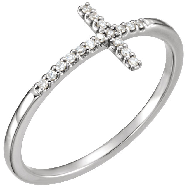 Sideways cross ring with diamonds