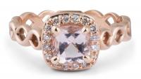 Woven Shank Morganite Halo Ring