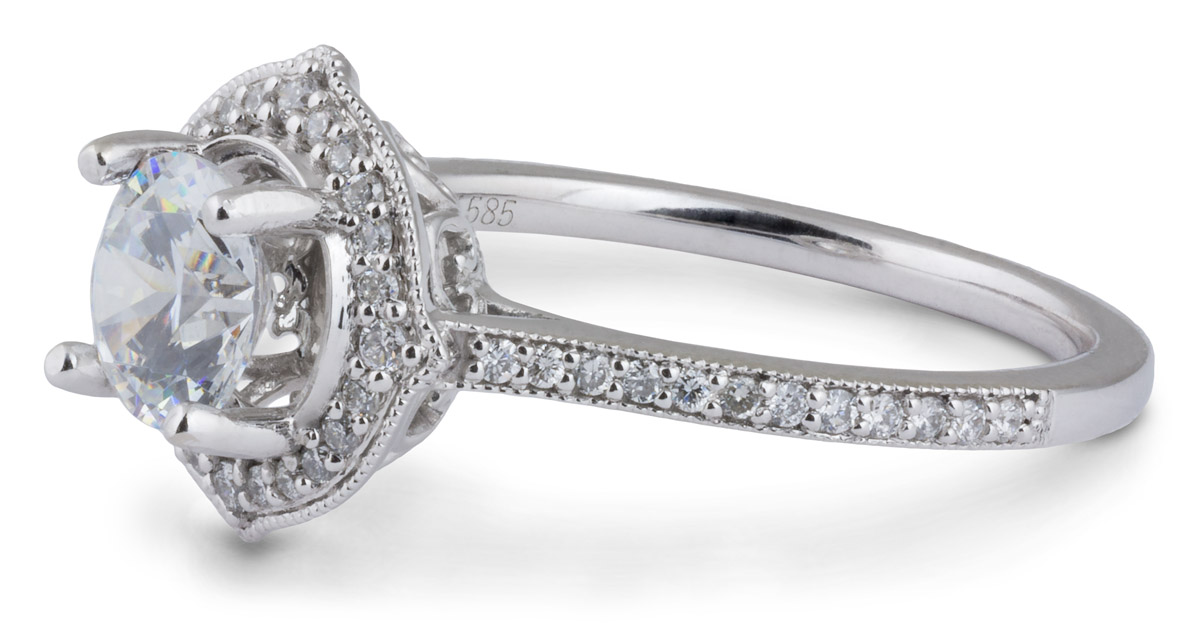 Vintage Halo Engagement Ring with Diamonds