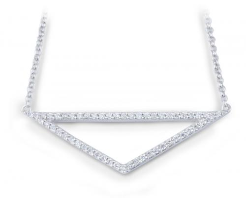 Minimalist Isosceles Triangle Pendant with Diamonds
