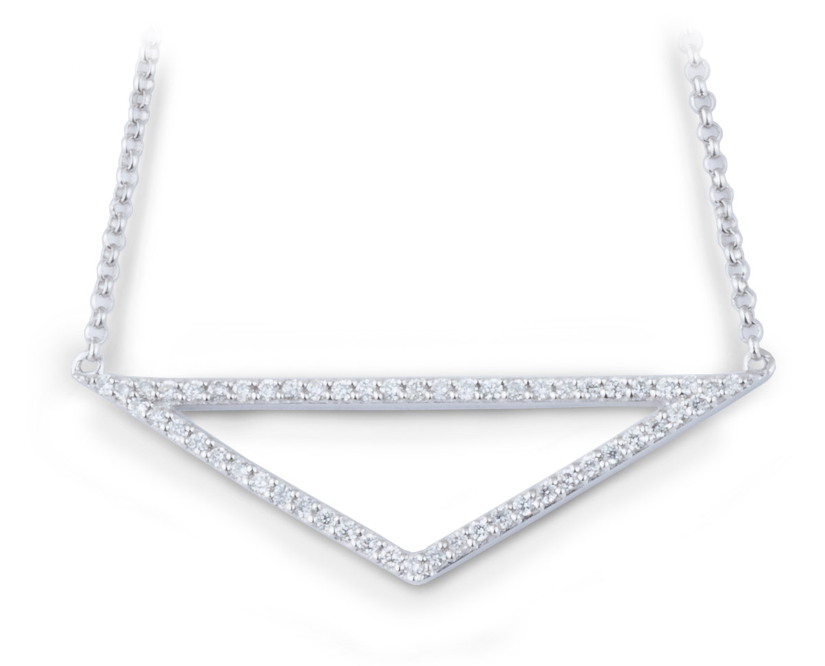 Minimalist Isosceles Triangle Pendant with Diamond Accents