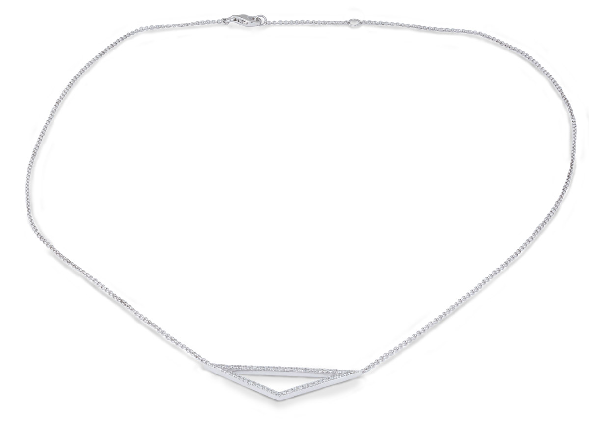 Minimalist Triangle Pendant with Diamond Accents - full