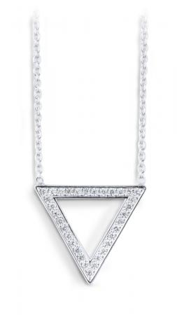 Minimalist Triangle Pendant with Diamond Accents