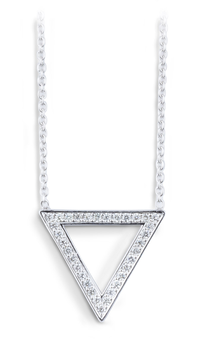 Minimalist Triangle Pendant with Diamonds