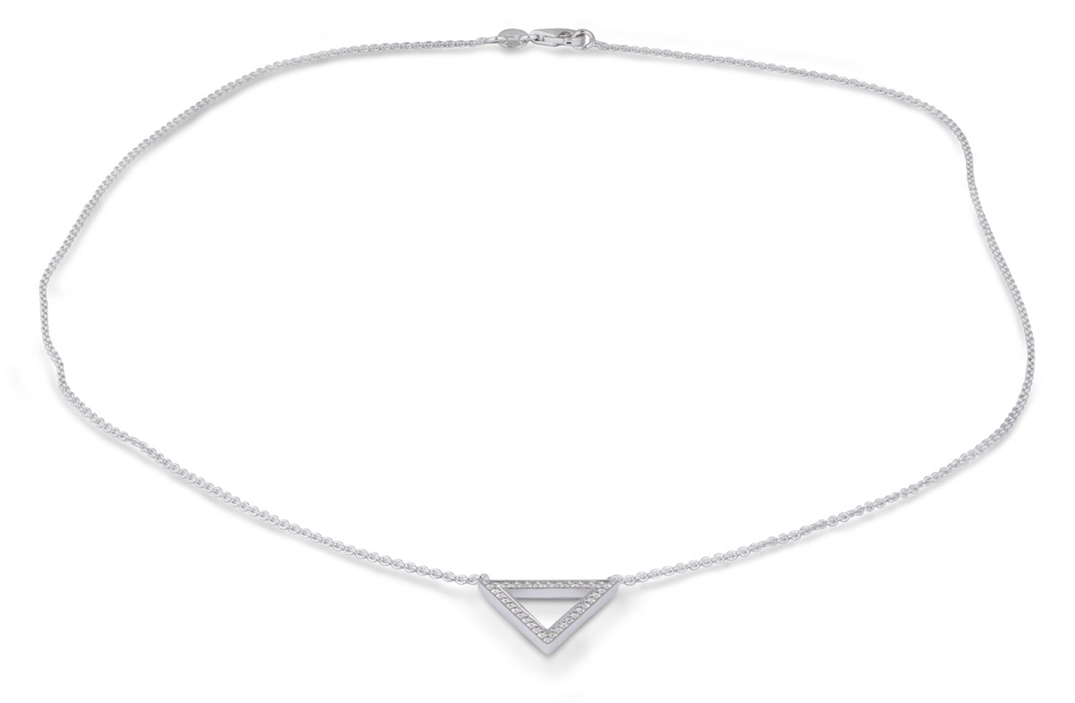 Minimalist Triangle Pendant with Diamonds - full